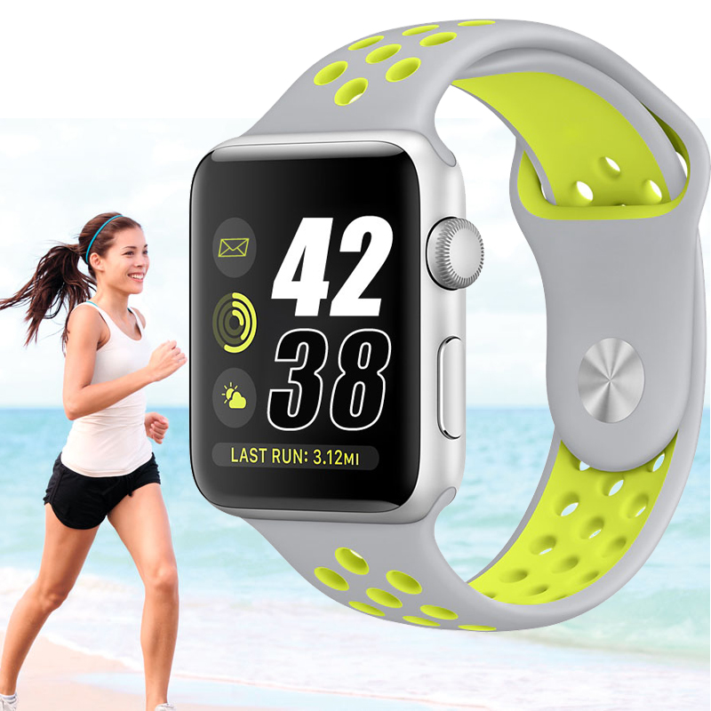 CRESTED silicone strap for apple watch band 42 m/38 m bracelet wrist watch strap for iwatch 1/2/3 replacement rubber band