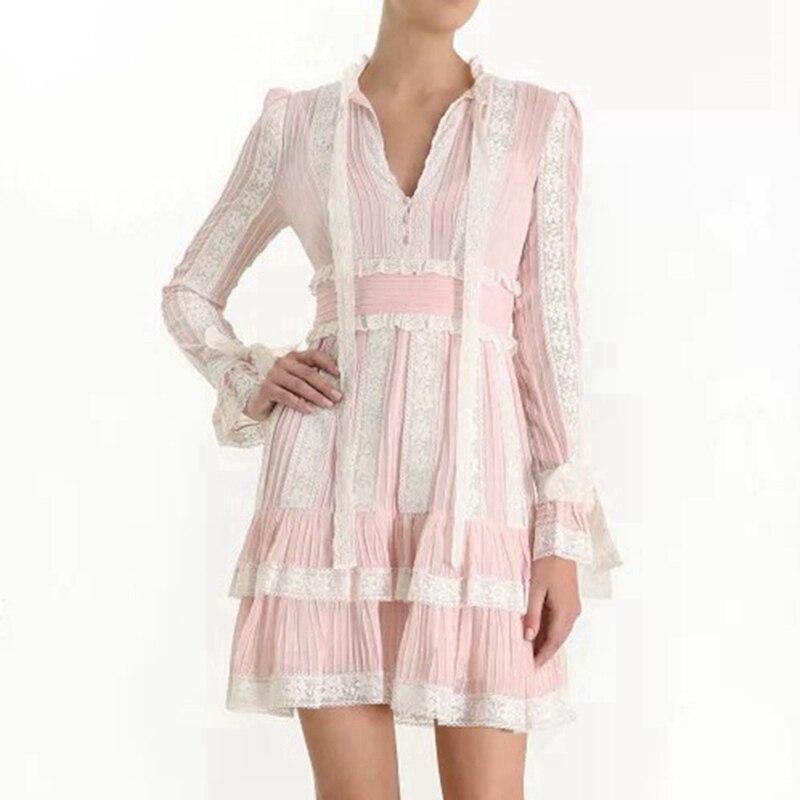 Pink Black Long Sleeve Dress White Designer Dress High Quality 2019 Lace Women Ruffle Autumn Winter Midi Dresses Ladies Party