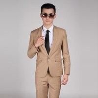 (Jacket + Pants) High Quality Men Khaki Suit Wedding Dress Groom Suit Prom Party Suits Set Mens Business Casual Suit Terno Noivo