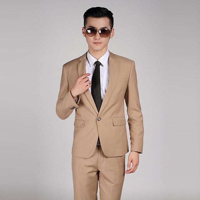 (Veste + Pantalon) haute Qualité Hommes Kaki Costume De Mariage Robe Marié  Costume De 667b6319c6d