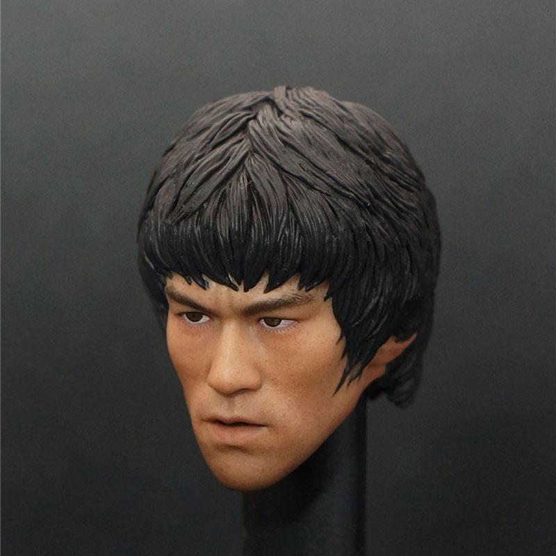 1/6 Scale Bruce Lee Head Sculpt Game of Death KungFu Star Headplay Head Carving For Hot Toys Figure Body 12 Action Figure Doll