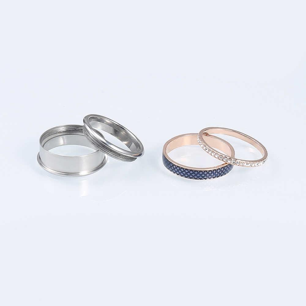 Cremo Retro แหวนเปลี่ยนได้ภายใน Cuff แหวนอุปกรณ์เสริมผู้หญิงด้านนอกสแตนเลสแต่งงานแหวนชุด Bijoux Bague