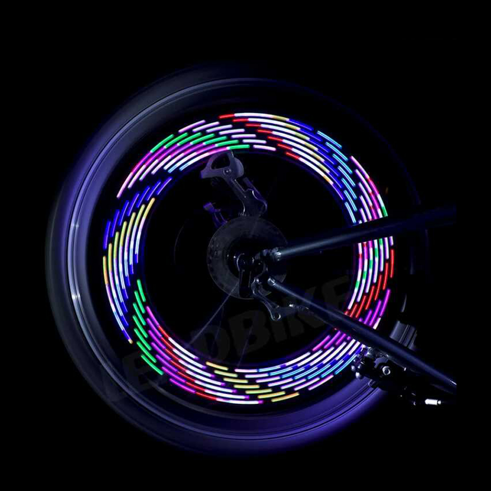 Hot! 14 LED Wheel Signal Lights Colorful Rainbow Riding Bikes Bicycles Cycling Fixed on Cycle Spoke Light Tire Flash Lighting
