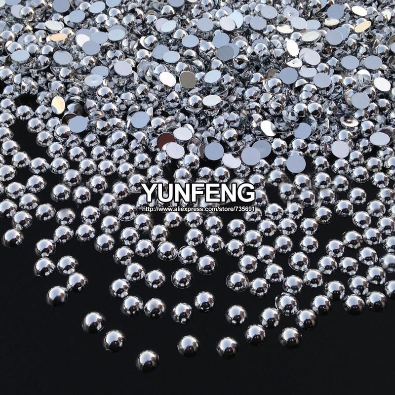 Sale New Arrival Half Round Flatback Pearls Silver Plated 1.5mm 2mm 2.5mm 3mm 4mm 5mm 6mm 8mm Abs Beads Diy Accessories