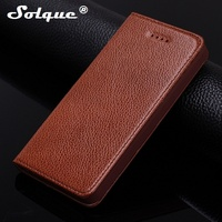 Fashion Magnet Cover Case For IPhone SE 5 5S Cell Phone Genuine Leather Litchi Grain Mobile