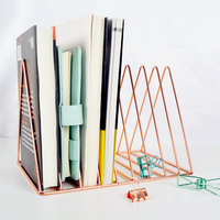 Gold Rose Gold Electroplated Bookend Desk Organizer Desktop Office Home Bookends Book Holder Black Book Stand