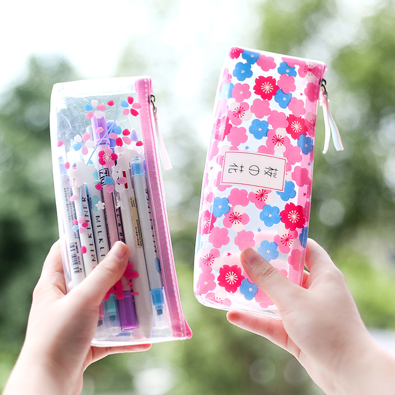 Fresh Cherry Sakura Pencil Case Cute Transparent PVC Pen Pouch Stationery Storage Organizer Bag School Office Supplies Zakka