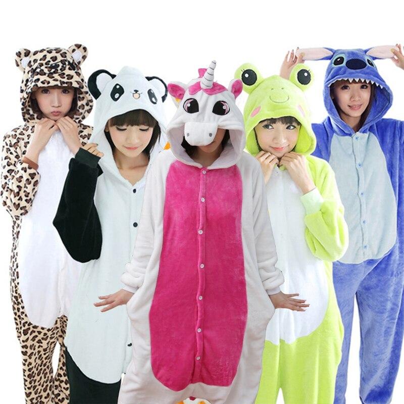 2018 New Unicorn   Pajamas     Sets   Flannel Cute Animal   Pajamas     set   Women Winter Super Soft Flannel Nightie Pyjamas Sleepwear Homewear