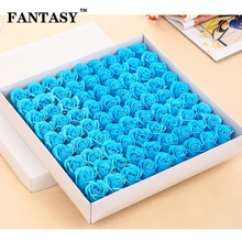 FANTASY 81pcs Soap Rose Head Artificial Flowers Wholesale High Quality Fake Gift Box For Wedding Bathroom Birthday Present