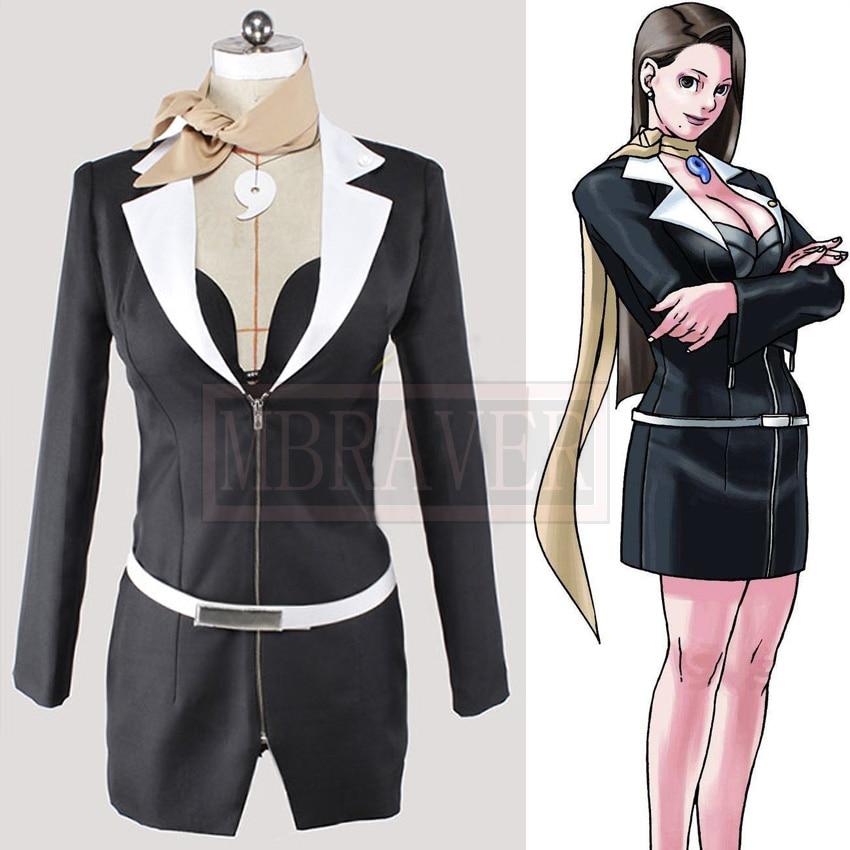 Gyakuten Saiban Ace Attorney Mia Fey Ayasato Chihiro Cosplay Costume Custom-Made Free Shipping