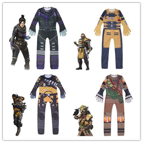 2019 New Game Children Boys Apex Legends Cosplay Costume Playing Wraith Bodysuit Jumpsuit Suits Halloween Costume For Kids