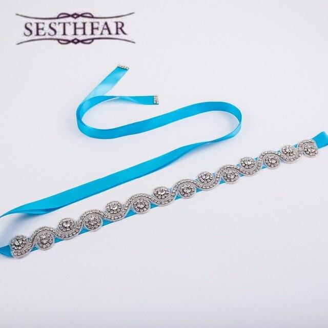 Elegant Artificial Bling Dazzling Crystal Rhinestone Bridal Belt Woman Sash Wedding Dress Waistband Decorative Accessories