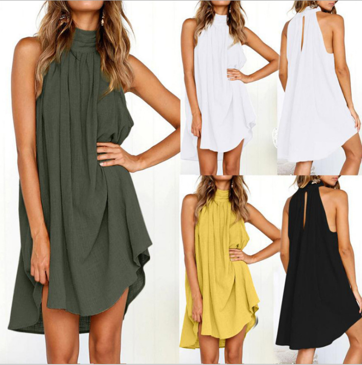 BF Leisure HIP HOP European and American womens explosions, 2019 round neck pleated cotton linen vest dress
