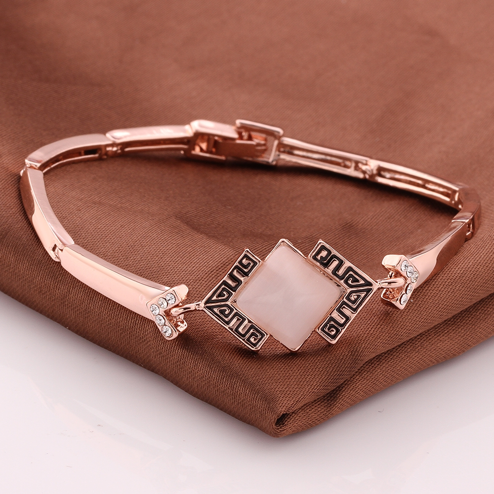 Woman's Rose Gold Colour Jewelry Great Wall Pattern Gold Colour Double Hand  Chain Men Bracelet For
