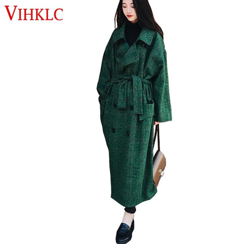 C577 De Femmes Parka Automne Mujer Hiver Green 2019 Laine Lâche Mélange Double Mode Boutonnage Manteau Outwear Longue Pardessus Iwx4aBx0