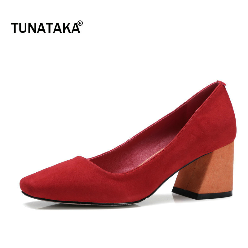 Genuine Leather Comfort Hoof Heel Woman Lazy Pumps Fashion Mixed Color Open Dress High Heel Shoes Square Toe Woman Shoes