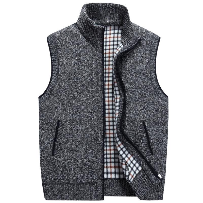 Мужские зимние шерстяной свитер жилет мужские без рукавов вязаный жилет куртка новинка 2017 года теплый флис свитер Плюс Размер M-3XL ...
