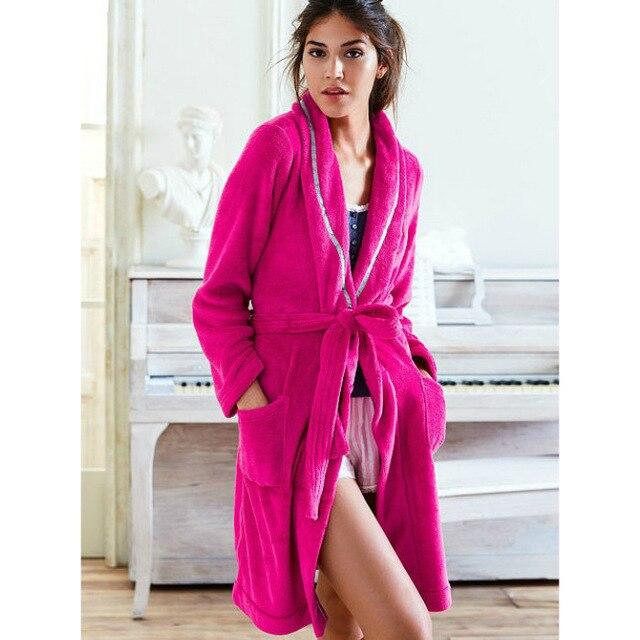 Well-know brand plus size women sexy plush coral fleece robes winter  flannel robe ladies pajamas bathrobe sleepwear nighgown 3697ff15a
