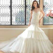 Custom Made Vestido De Novia Satin Applique Beading Luxury Crystal Lace Mermaid Wedding Dress Bridal Gown