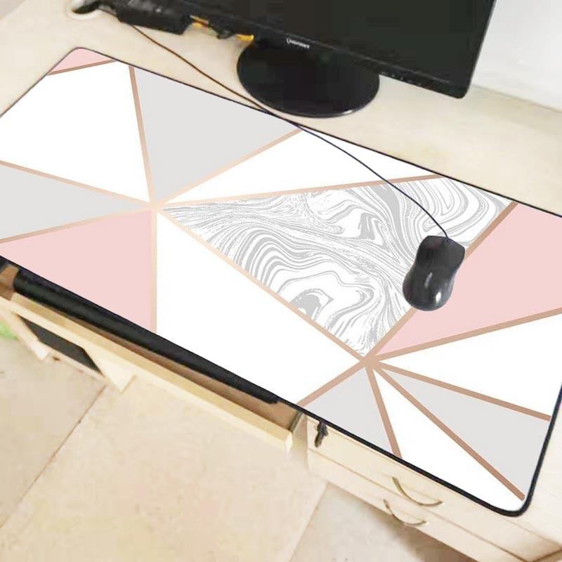 Mairuige 900x400mm Rose Gold Marble Keyboards Mat Rubber Gaming Large mousepad Desk Mat Decorative desktop gaming mouse mat pad 1