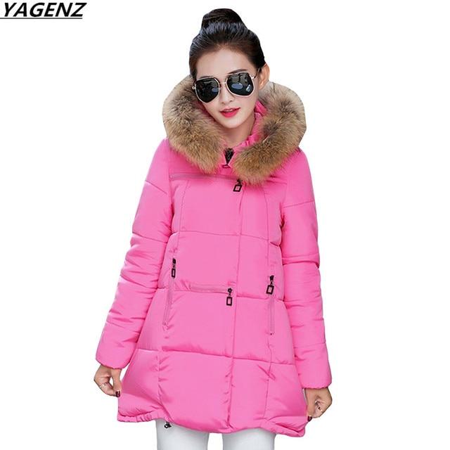 Winter Women Jacket 2017 New Hooded Fur Collar  Parkas Warm Down Cotton Jacket Loose Plus Size 4XL Female Basic Coat YAGENZ K407