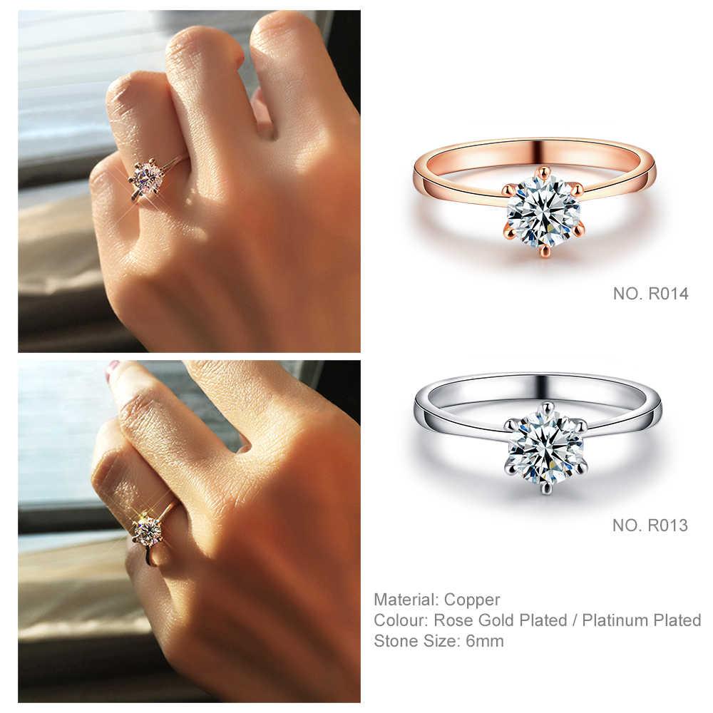 หมั้น/งานแต่งงานแหวนนิ้วมือสำหรับผู้หญิง AAA + Cubic Zirconia Rose Gold สีแฟชั่นเครื่องประดับสำหรับผู้หญิงหญิง R014