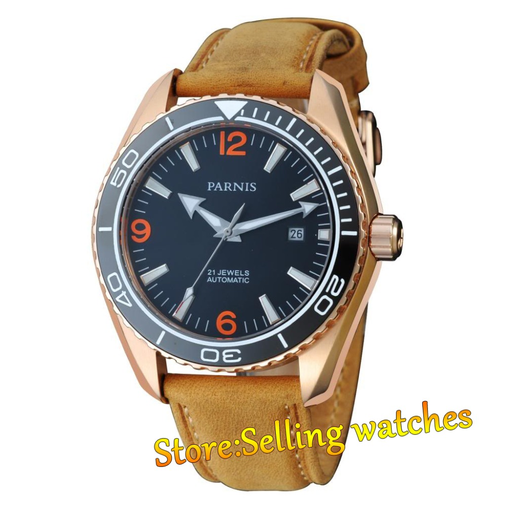 45mm Japan Miyota Ceramic Bezel Parnis Automatic Movement Waterproof Men Watch все цены