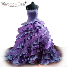 Colorful Lilac Purple Wedding Dress Spaghetti Strap Lace Wedding Dress Ruffle Tiered Ball Gown Wedding Dresses Robe De Mariage