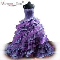 Colorful Lilac Purple Wedding Dress Spaghetti Strap Lace Wedding Dress Ruffle Tiered Ball Gown Wedding Dresses