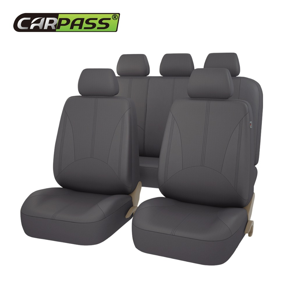 Car-pass Universal Auto Car Seat Covers Accessories PU Leather Waterproof For Toyota VW Chevrolet Ford Nissan Black Beige Gray kkysyelva universal leather car seat cover set for toyota skoda auto driver seat cushion interior accessories