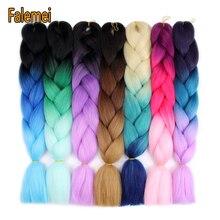 FALEMEI 24inch black grey ombre crochet jumbo braiding hair women synthetic