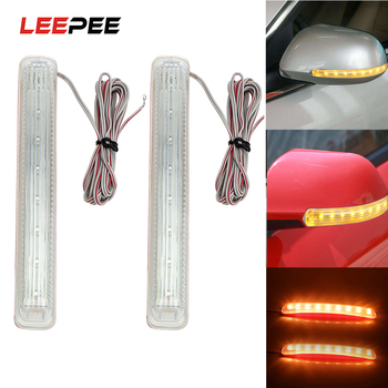 цены LEEPEE LED Car Turn Signal Light Auto Rearview Mirror Indicator Lamp Soft Flashing FPC Universal Yellow 9 SMD Amber Light Source