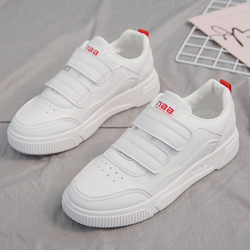 2019 Women White Shoes Leather Hook&Loop Platform Sneakers Women Flats Shoes Comfortable Spring Footwear Lady Vulcanize Shoes Сникеры
