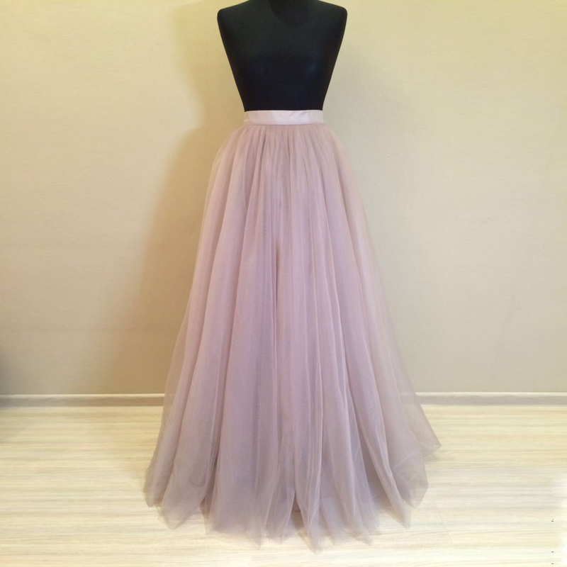High Quality 5 Layers 110cm Long Tulle Skirt for Women Pleated Skirt Fashion font b Wedding