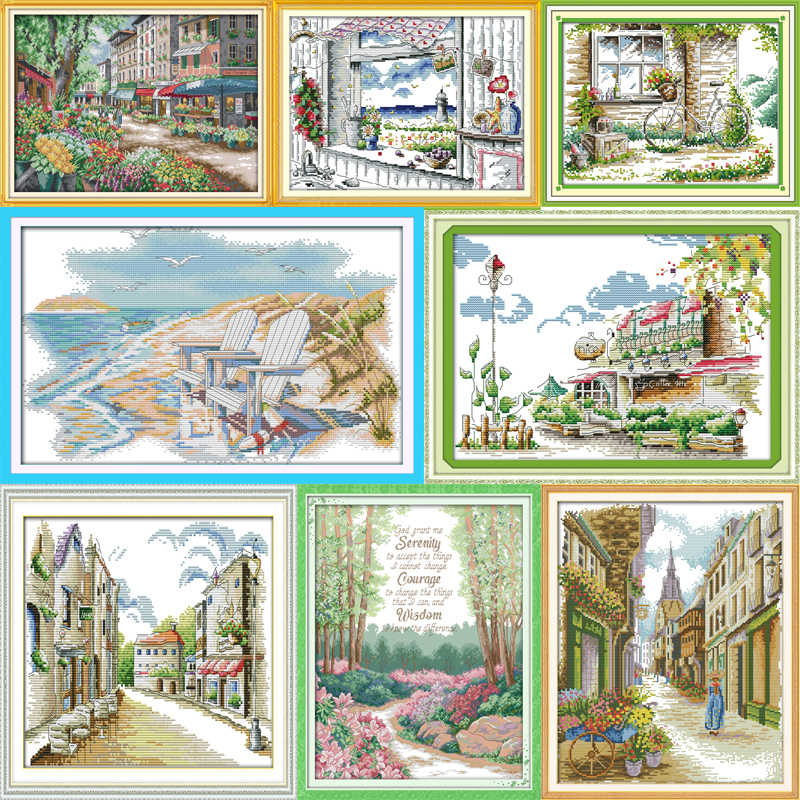 Best Joy Sunday Cross Stitch Kits Embroidery Cross Stitch Landscape 11CT 14CT Cross Stitch Kits for Embroidery Needlework Sets