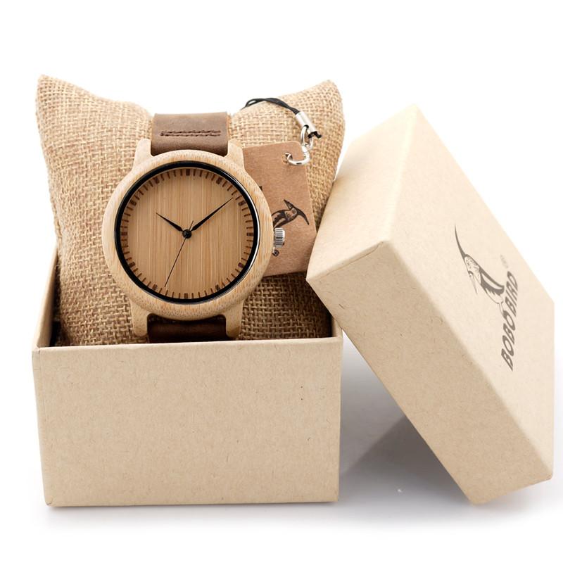Prix pour Marque de luxe BOBO BIRD Hommes Bambou Bois Montres Hommes et femmes Horloge À Quartz De Mode Casual Bracelet En Cuir Montre-Bracelet Mâle Relogio