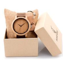 luxury  bobo bird men bamboo wood watches men and women quartz clock fashion casual leather strap wrist watch male relogio