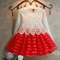 Nova Moda Bonito Meninas vestem crianças bebê roupas de menina vestidos de casamento do laço do vestido vestido da menina princesa vestidos de festa de crianças 2-6A