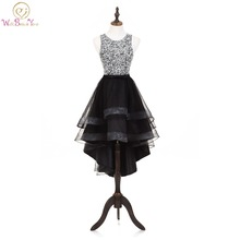 Walk Beside You Hi-low Evening Dresses Beads Bodice Christmas Dress Short Front Long Back Black Formal Party Gown robe de soiree