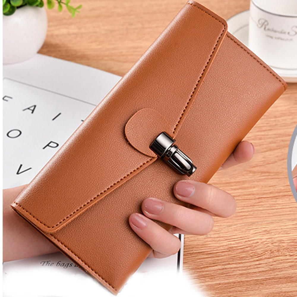 Top brand Wallet Women Large Capacity PU Leather Clutch Checkbook Wallet Card Holder Purse For Women Carteira Feminina #5 stylish jewel neck backless pu leather top for women