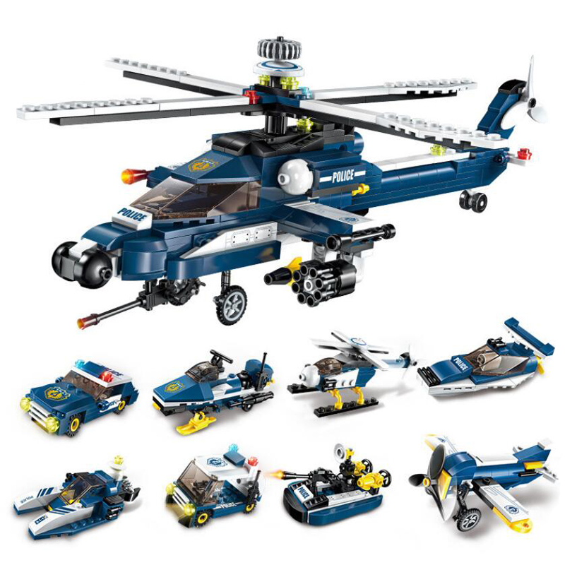 381Pcs DIY Enlighten Bricks 8in1 Car Building Blocks Helicopter Model Set Educational Assembled Toys For Children Kids Boy 111pcs children blocks toys police series helicopter blocks toys assembled model building kits educational diy toys for kids