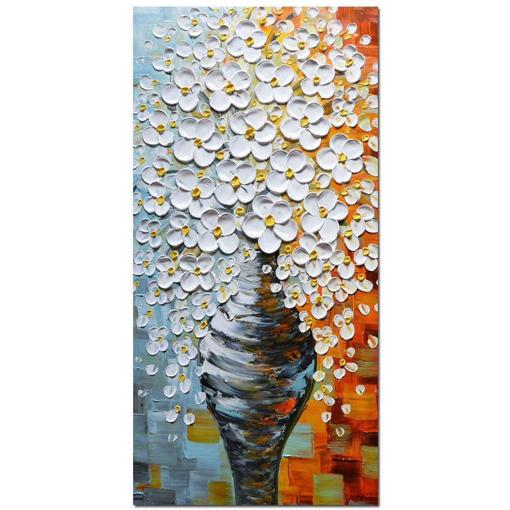 3D Oil Paintings On Canvas Elegant White Vase Abstract Artwork Wall Art For living Room Bed