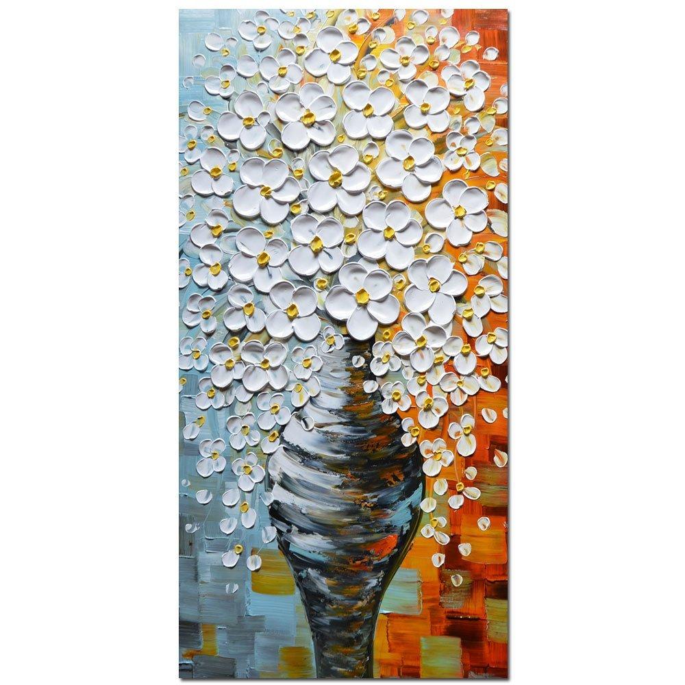3D Peintures À L'huile Sur Toile Élégant Blanc Vase Abstrait des Motifs Mur Art Pour salon, lit Chambre, Salle à manger Encadrée Étirée