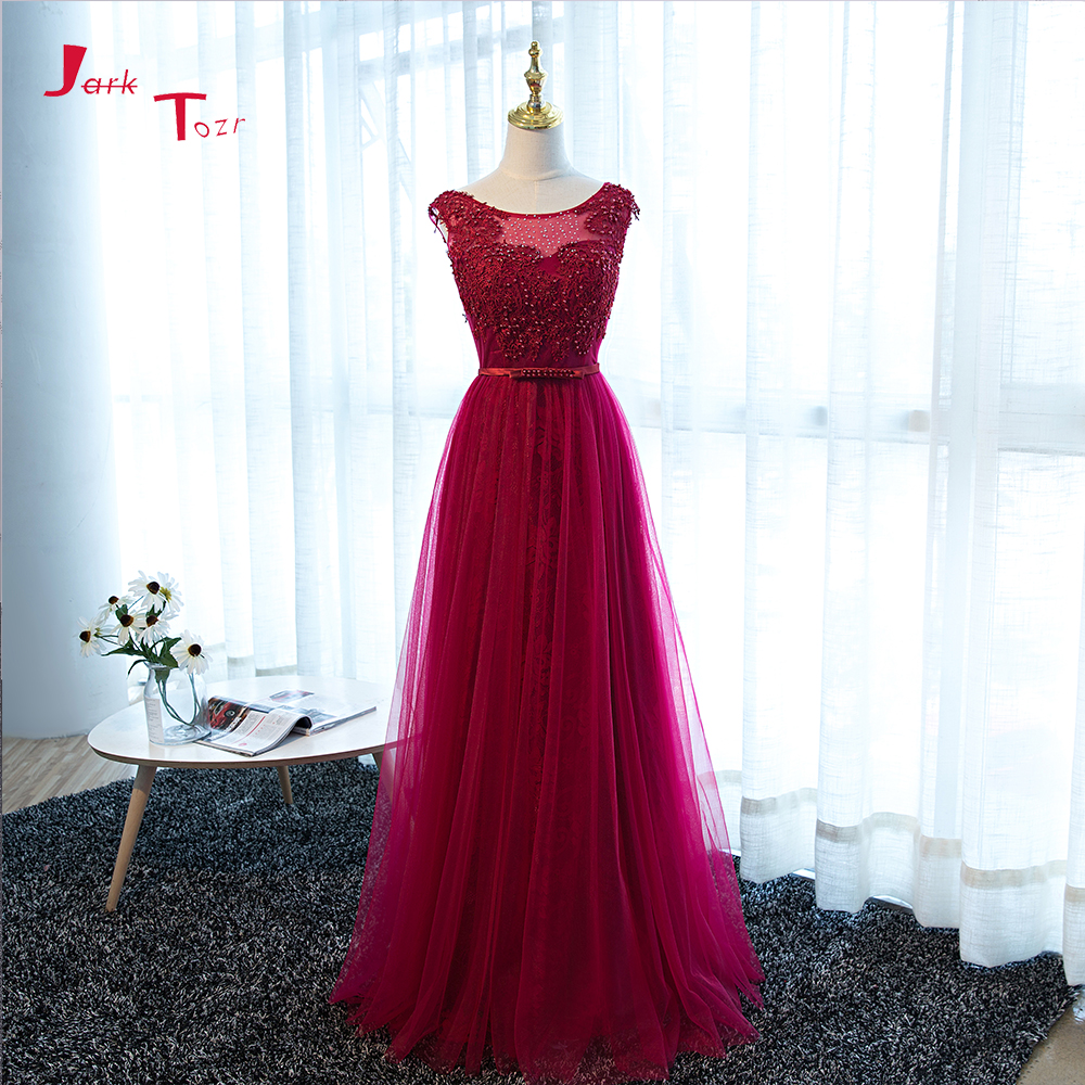 Jark Tozr 2018 Real Photos Formal Gowns Long Beaded Crystal Pearls Lace Tulle Prom Dresses China Online Shop Vestido De Festa