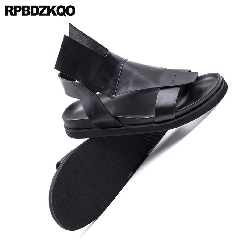 Plattform Sommer 2018 Luxus Freien Echtes Männer Beiläufigen weiß Schwarz Schuhe Qualität Strap Designer Hohe Leder Im Schwarzes Sandalen fwE81qf