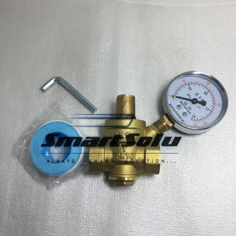free shipping 1 Brass DN25 water pressure regulator with gauge,pressure maintaining valve,water PRV pressure reducing valve