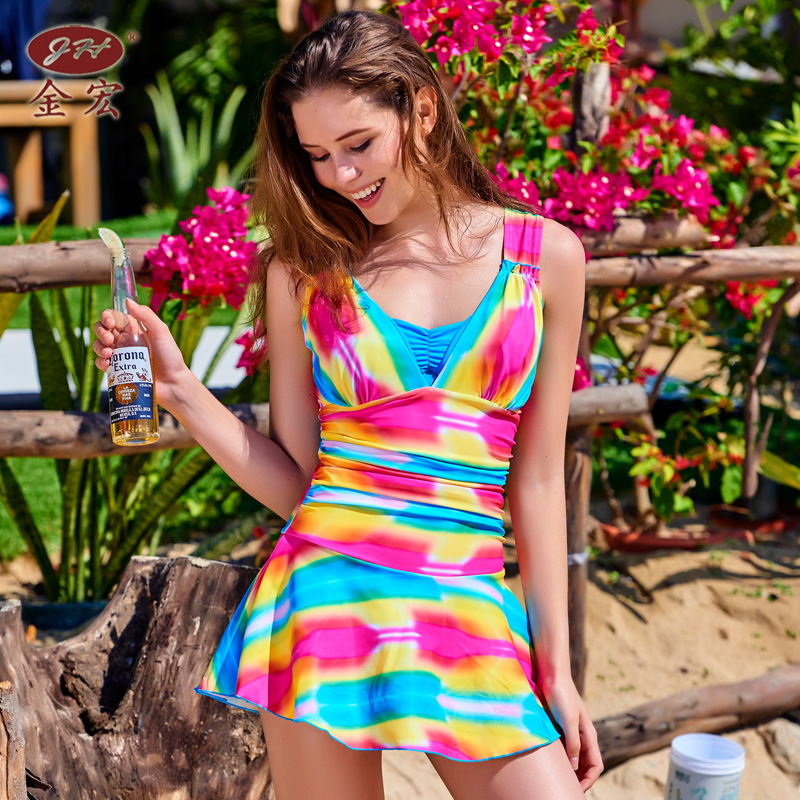Swimming Suit For Women Cheap Sexy Bathing Suits Plavky Girls May Beach Brand 2017 New Women'S Rainbow Color One-Piece Skirt cheap sexy bathing suits may beach girls bikinis women woman one piece swimsuit 2017 korean new leaf lace pink bayan mayo traje