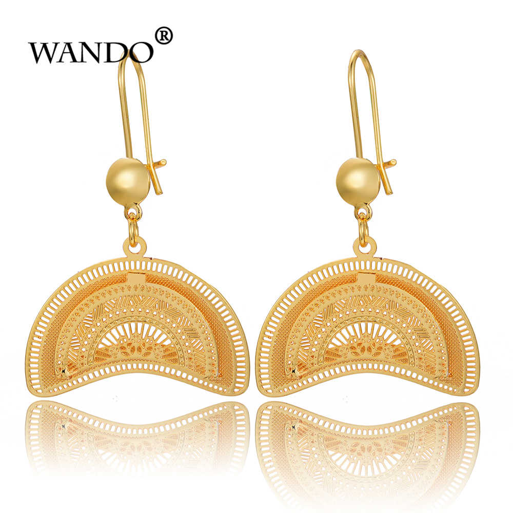 WANDO Africa fan shaped Earrings Women Gold Color Copper Semicircular Earring Ethiopian Jewelry,Nigeria,Congo,Arab LoverGift E53