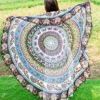 150cm Summer Large Tapestry Outdoor Beach Towel Microfiber Printed Round Beach Towels Women Swimming Sunbath Blanket