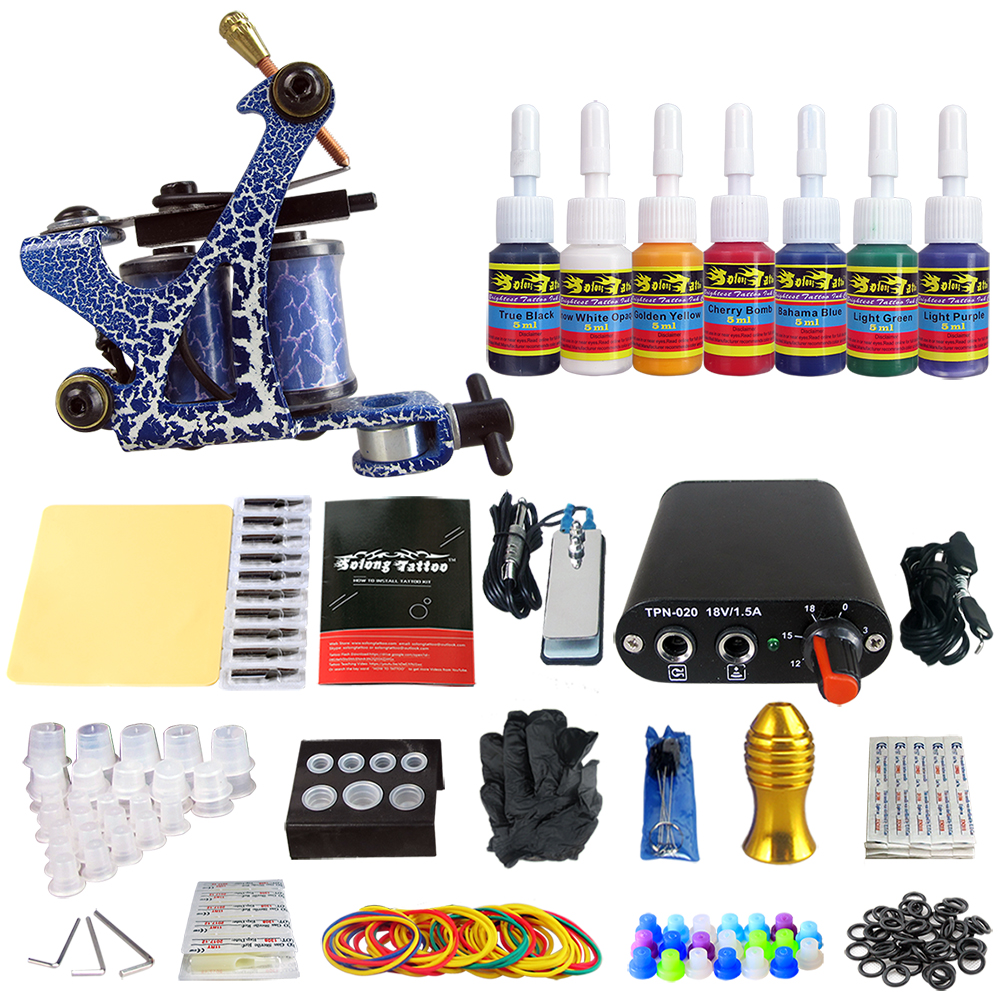 Solong Tattoo Complete Beginner Tattoo Kit 1 machine Gun 7 Color Inks Power Supply Grips Foot Petal Needles Set TK105-72Solong Tattoo Complete Beginner Tattoo Kit 1 machine Gun 7 Color Inks Power Supply Grips Foot Petal Needles Set TK105-72